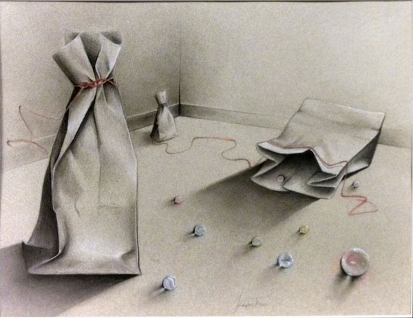 Charcoal drawing of bags and marbels