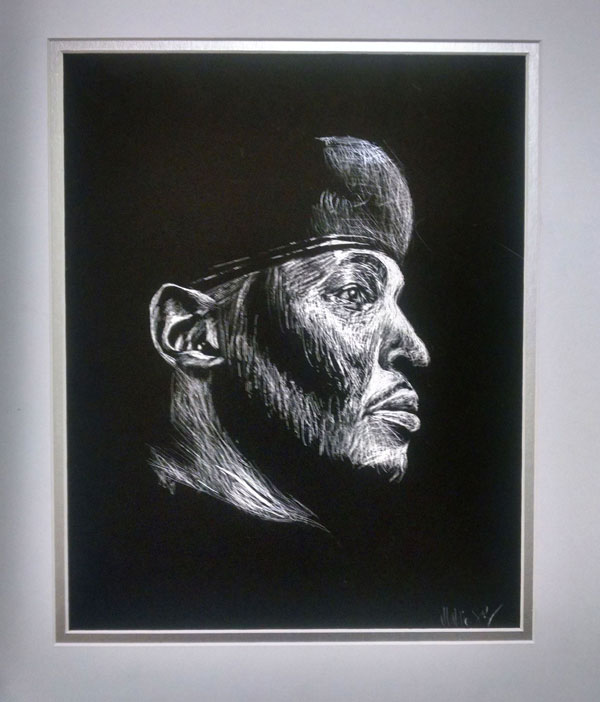 Black and white scratchboard portrait of Melo
