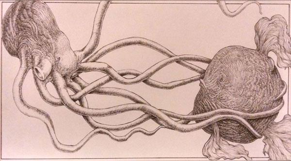 Pen and ink artwork of aquatic enemies