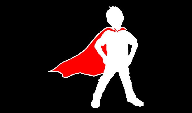 White outline of a child wearing a red cape on a black backgorund