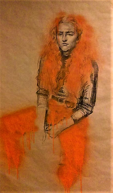 Cate in Orange crayon and spray pain portrait